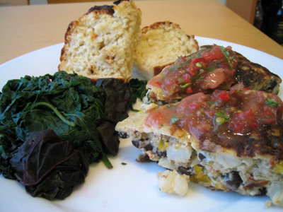 black bean and hominy frittata