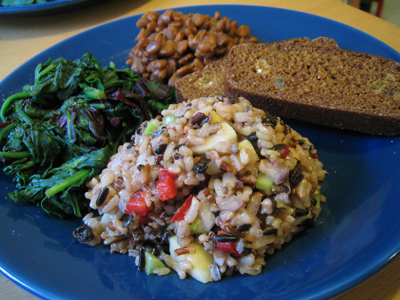waldorf salad, baked beans, brown bread, spinach