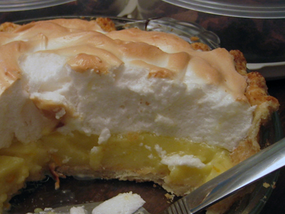 Lemon meringue pie cross section