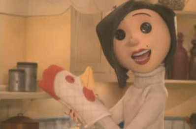 chicken oven mitt from Coraline